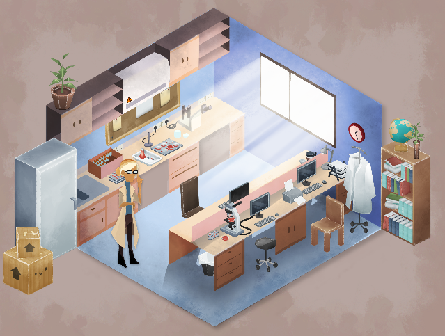 Screenshot from a game developed by Pocket Sized Hands showing a laboratory environment.
