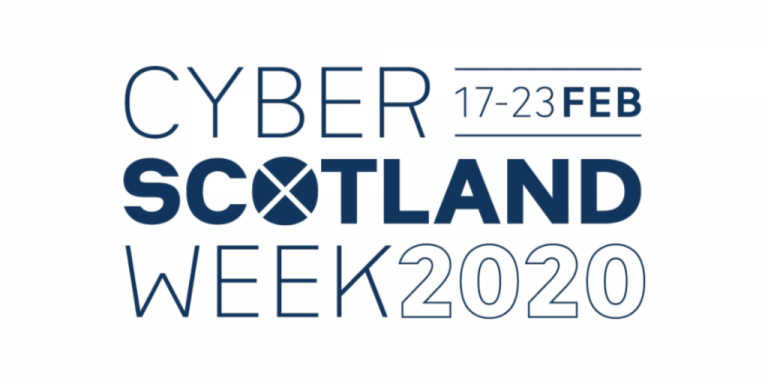 Logo of Cyber Scotland Week 2020 with dates: 17 - 23 February