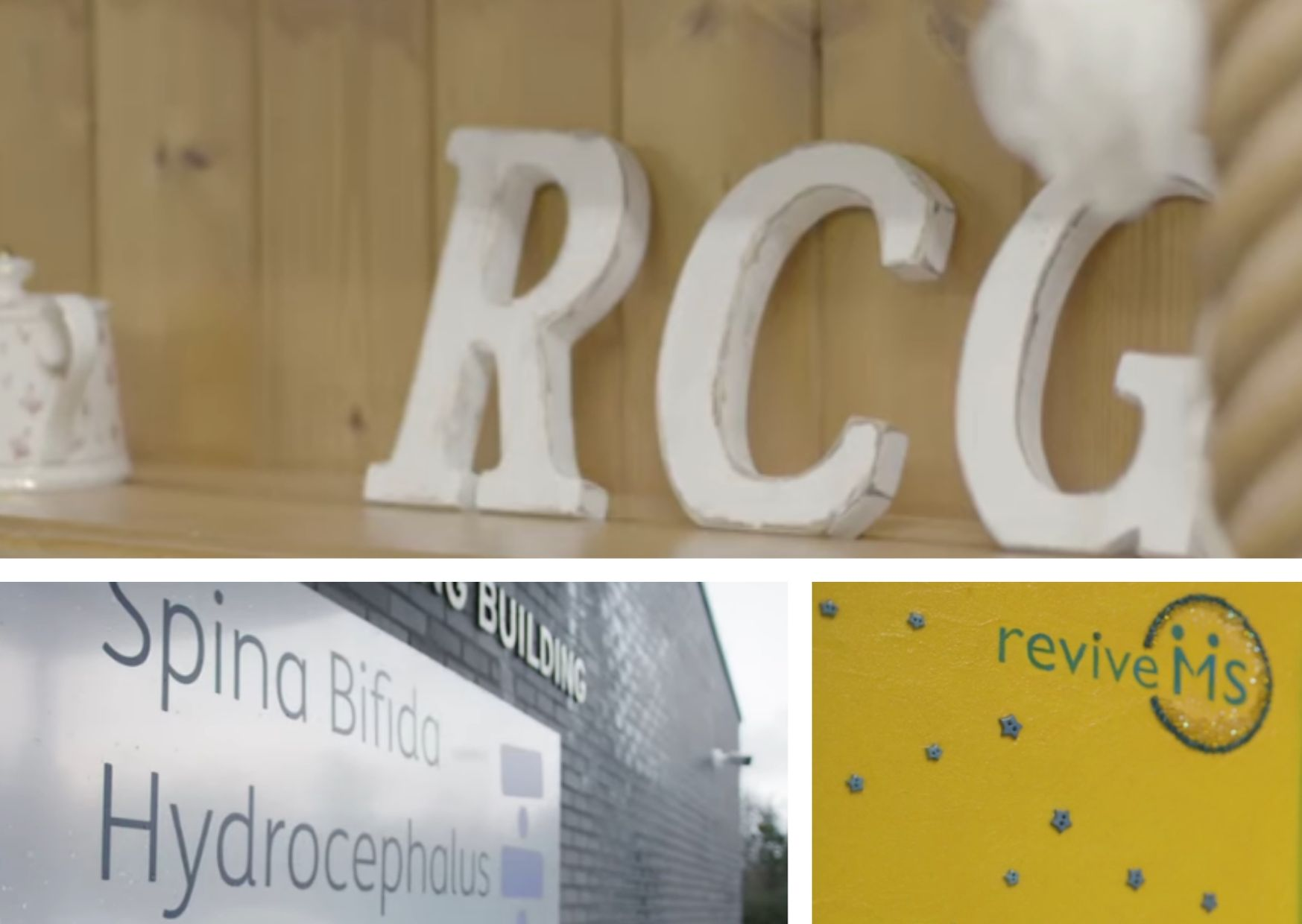 Stills from the three videos with logos of each organisation.