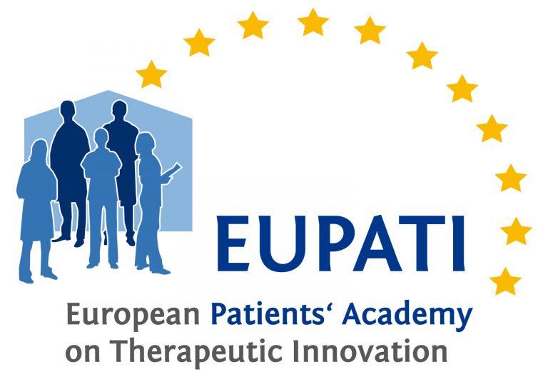 EUPATI logo showing three people with 11 gold stars alongside text.
