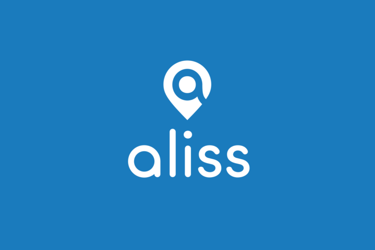 Blue and white image of the ALISS logo, which is a pin with the word ALISS below it