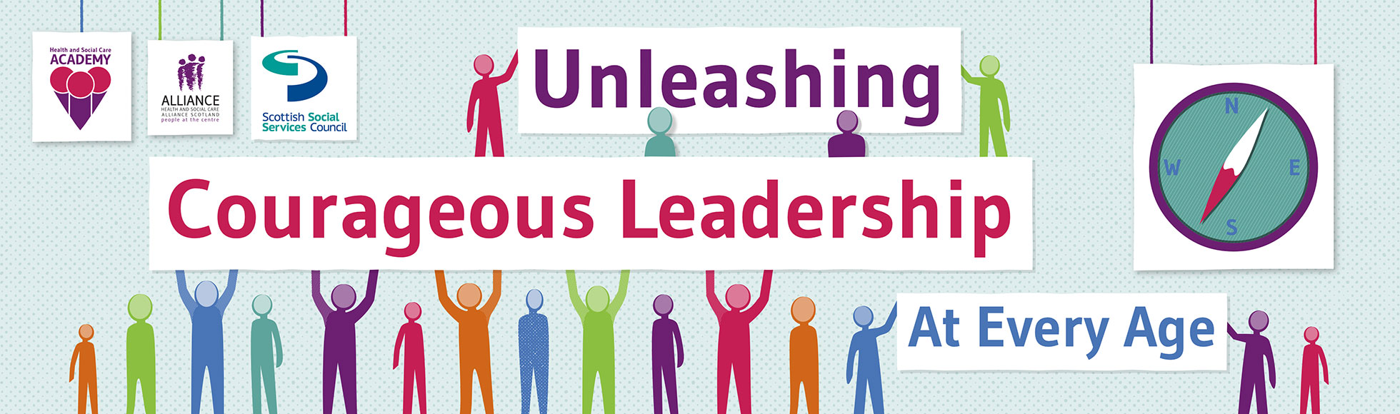 Graphic containing outlines of people in different colours, with the caption 'Unleashing courageous leadership at every age'