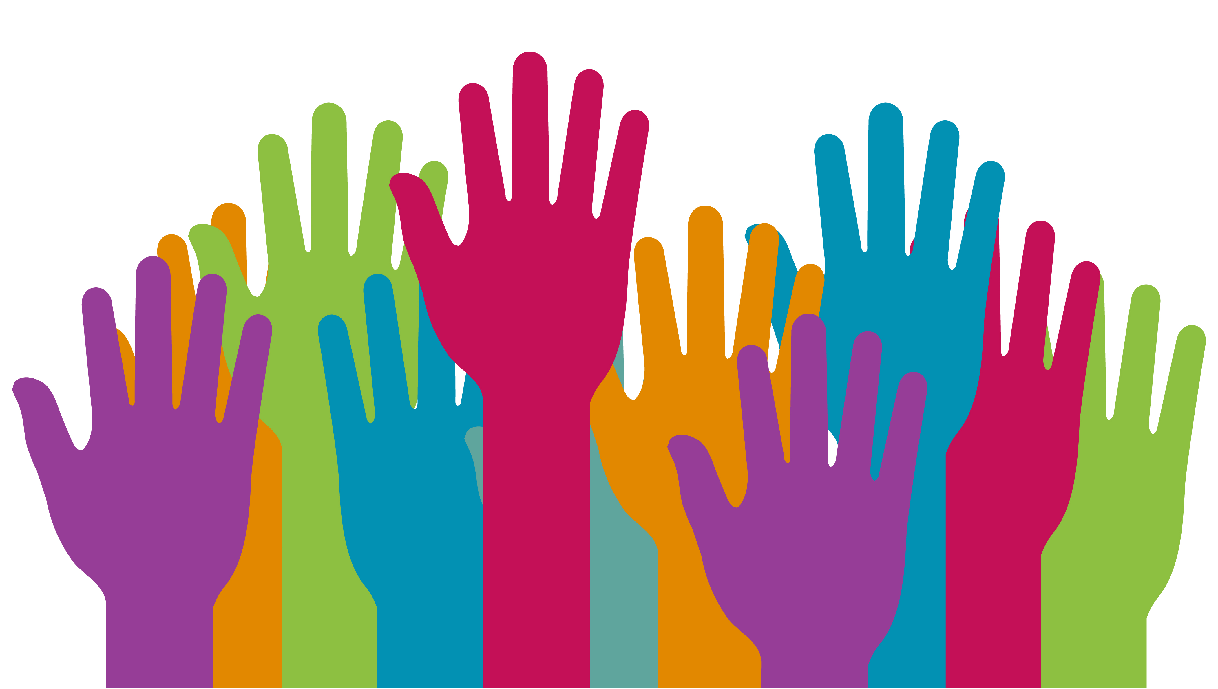 Illustration of 10 hands raised in the air, in various different bright colours/
