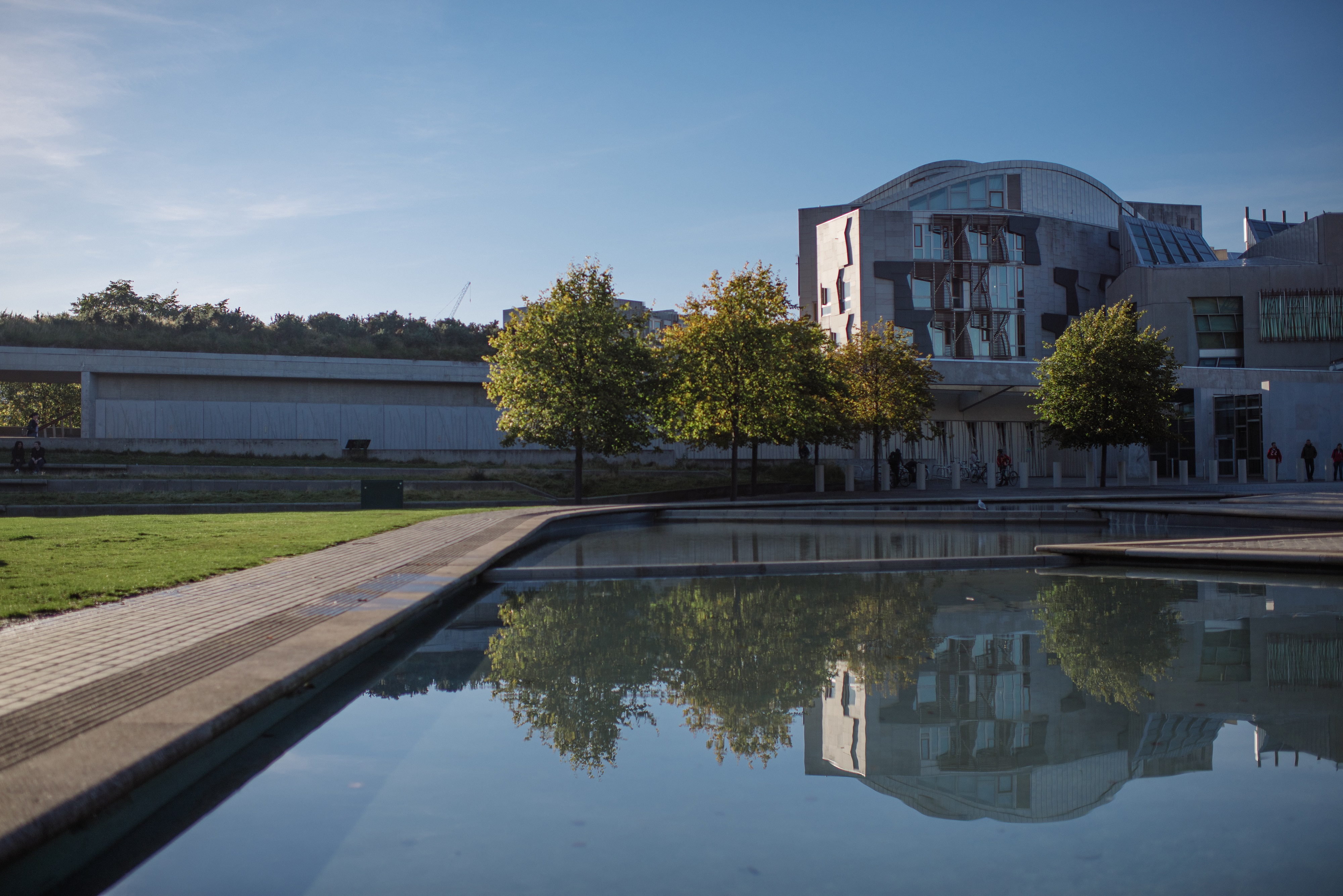 Photo of the outside of the Scottish Parliament building