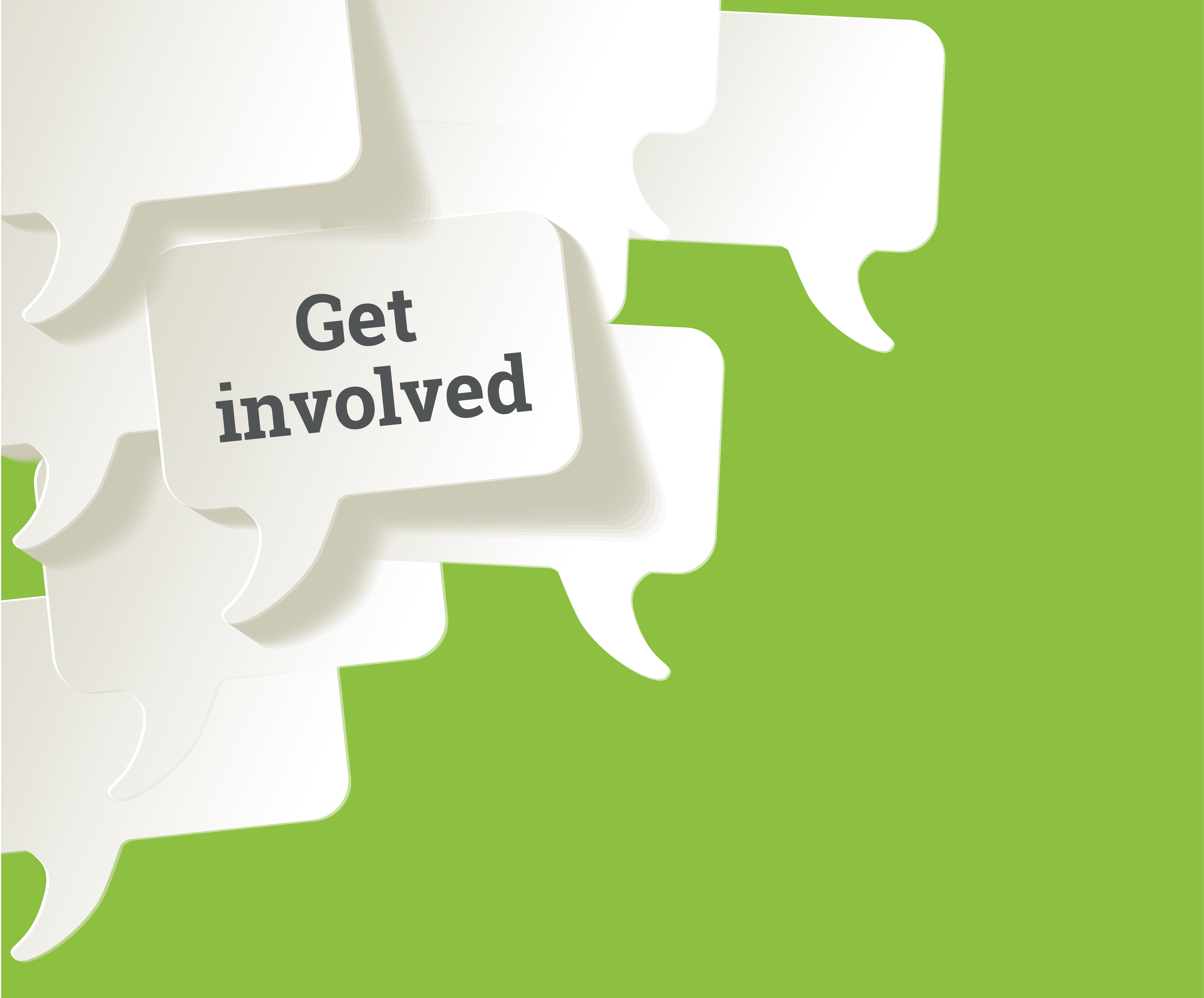 White speech bubbles set against a green background, with the caption 'get involved'