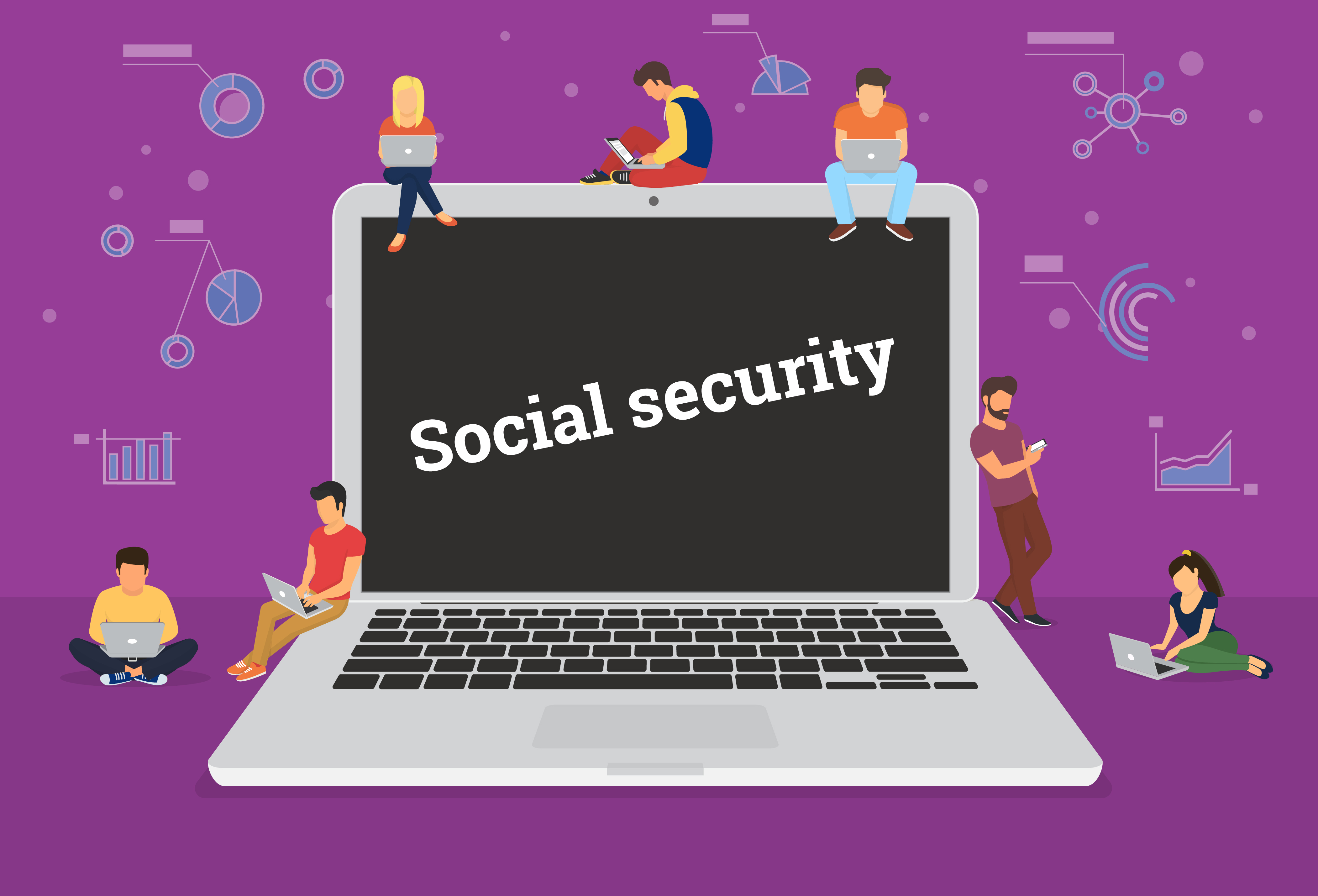 Illustration of a laptop screen displaying the caption 'social security'