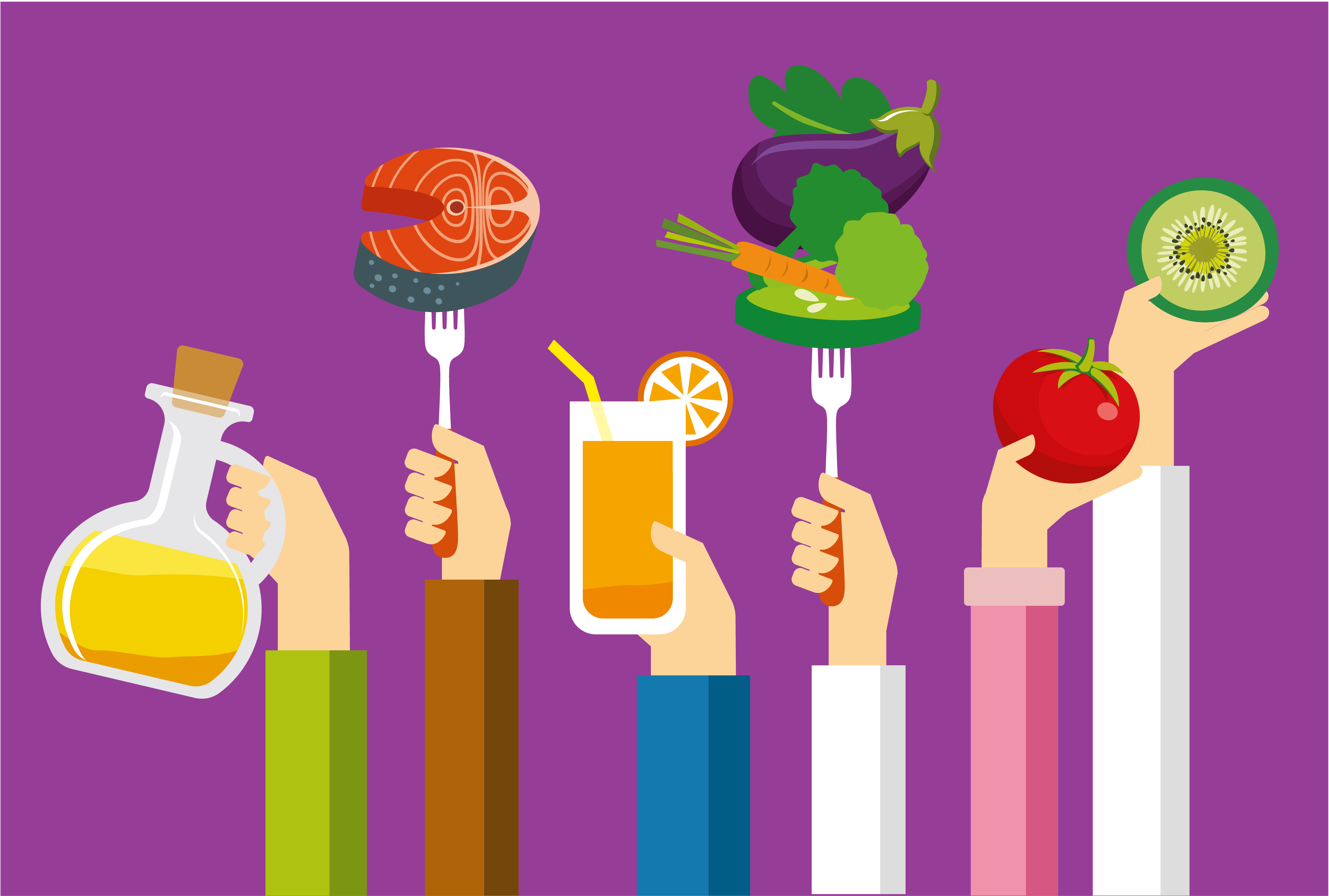 Illustration of hands holding up a range of food and drinks items, set against a purple background
