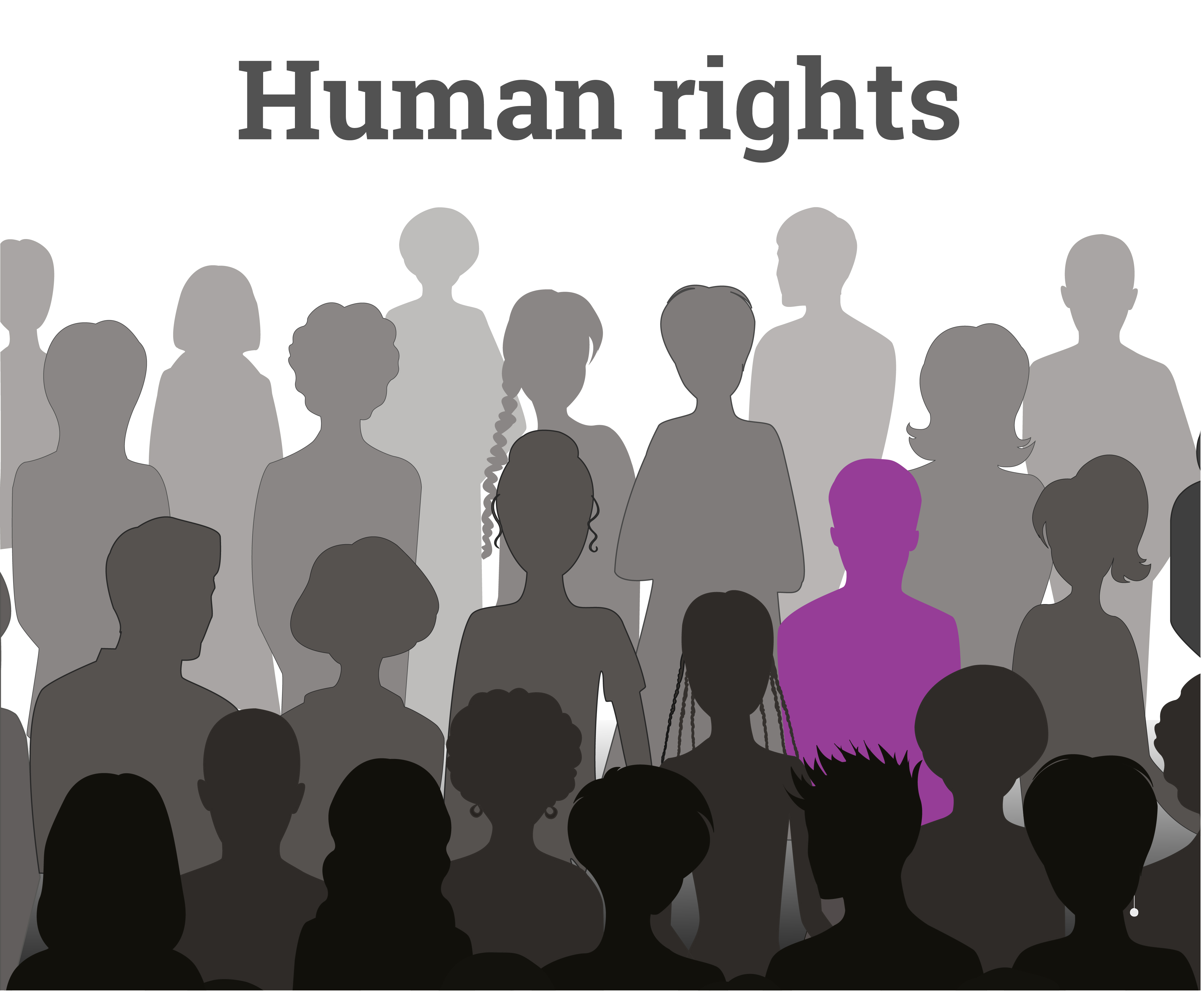 Picture of shadows of people with the words 'human rights'
