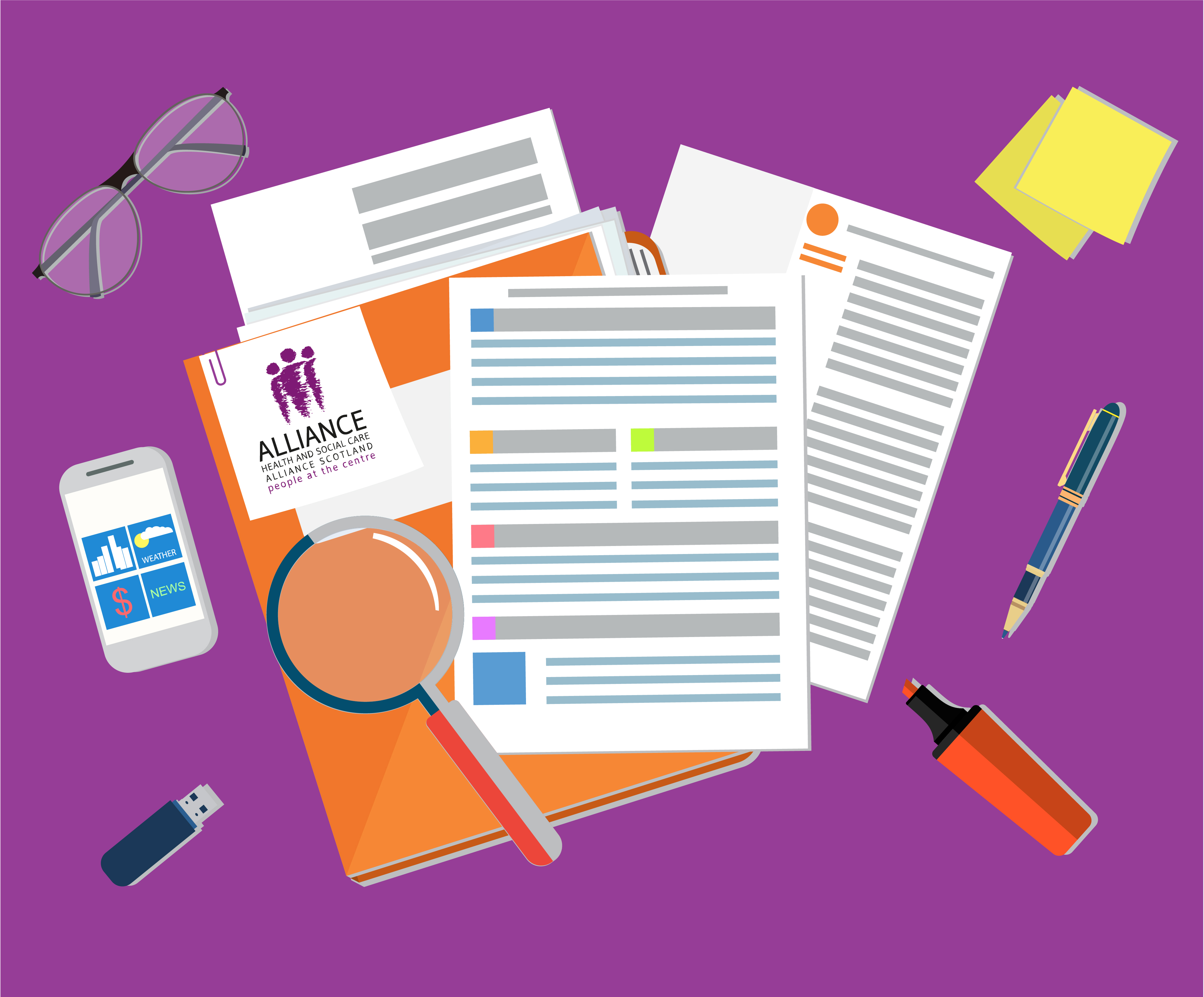 Overhead illustration of a desk scene featuring folders, sheets of paper and various stationery