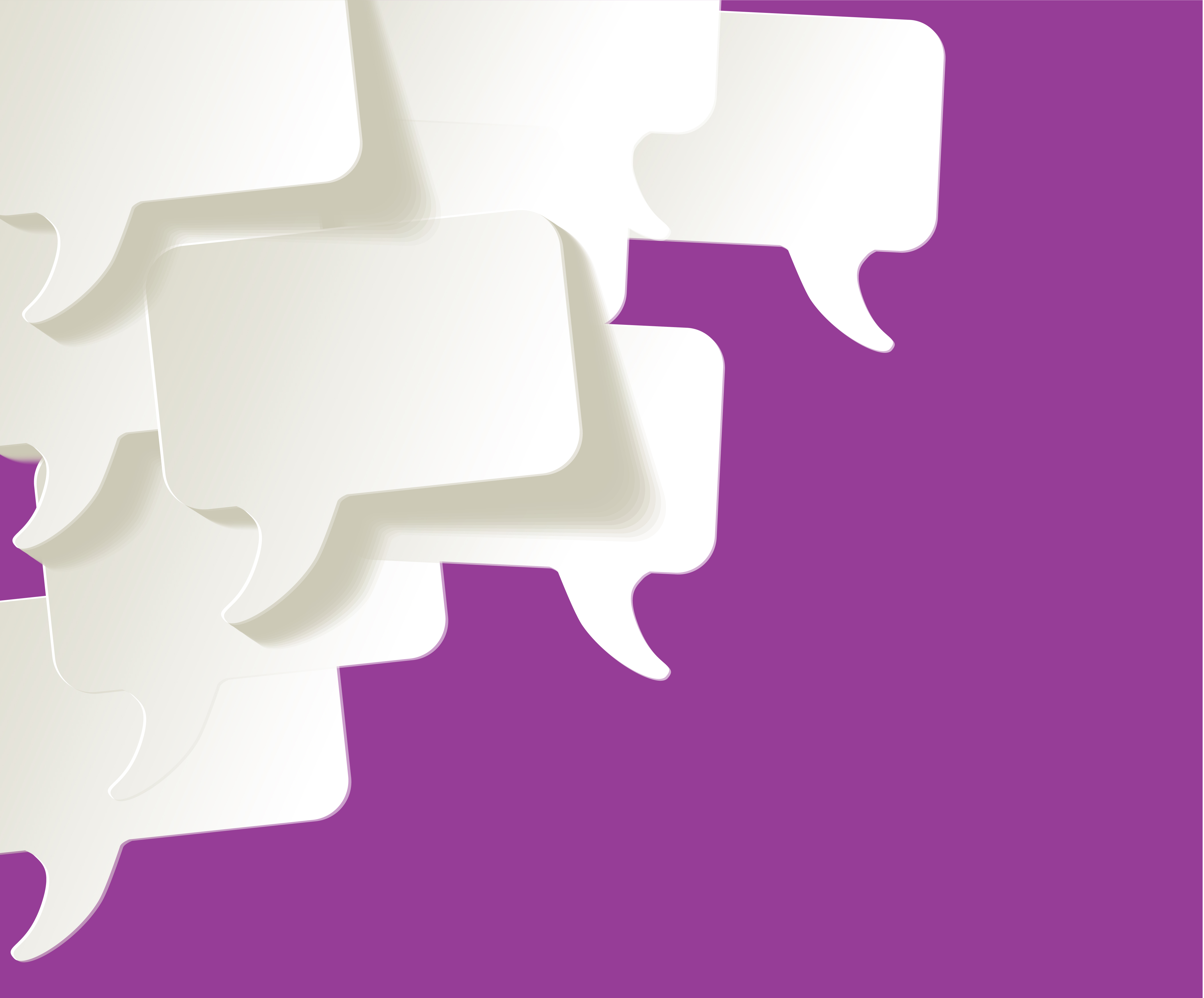 Illustration of 7 small speech bubbles set against a purple background.