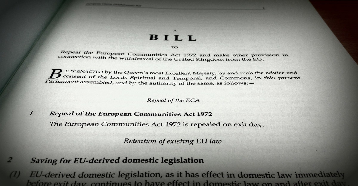 Photo of the first page of the EU Withdrawal Bill
