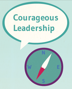 Illustration of a compass, with a speech bubble above it containing the words 'courageous leadership'