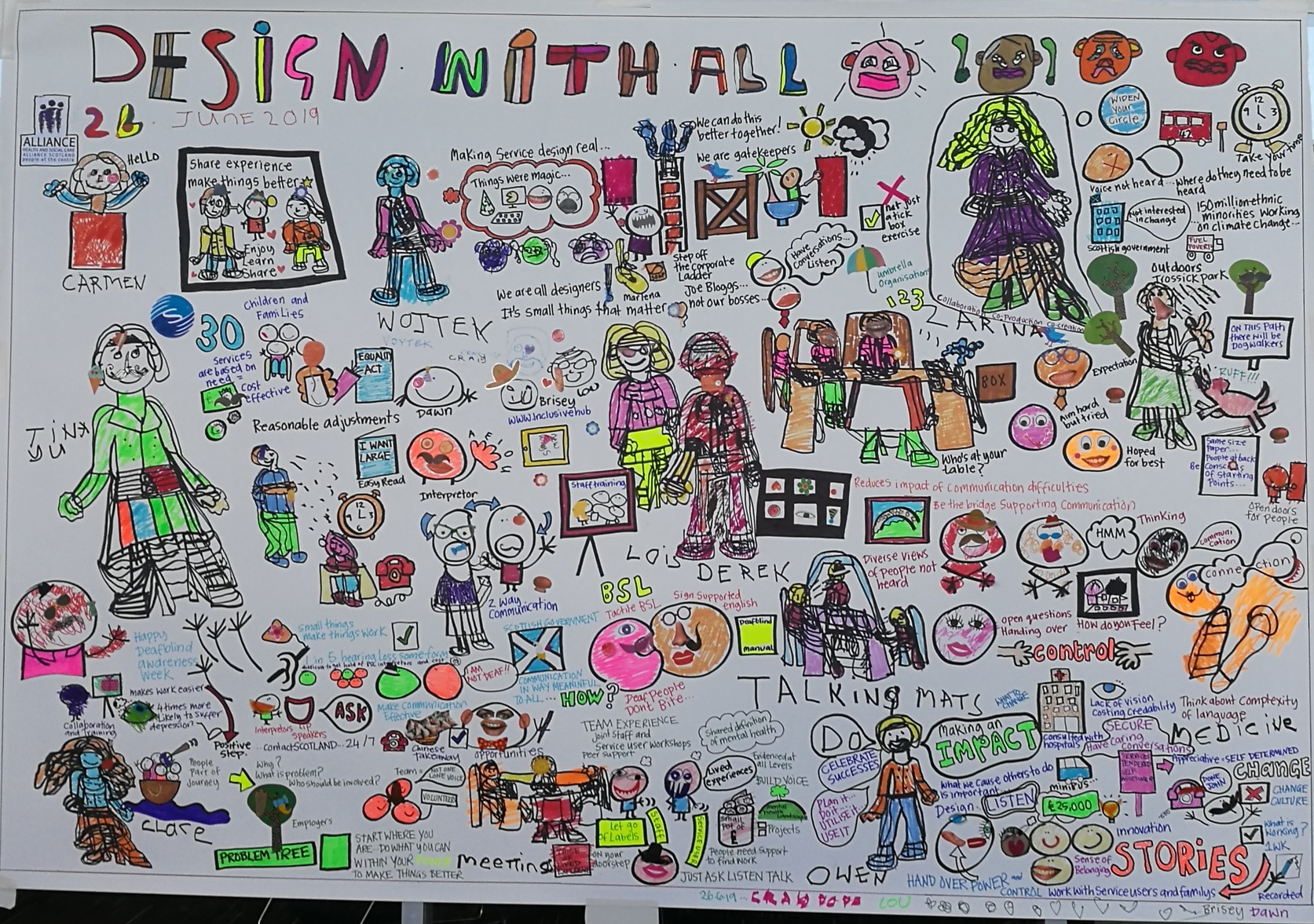 Very complex graphic facilitation of discussion on 26 June, at the 'Design with all' event. Discussion themes can be accessed in report instead.
