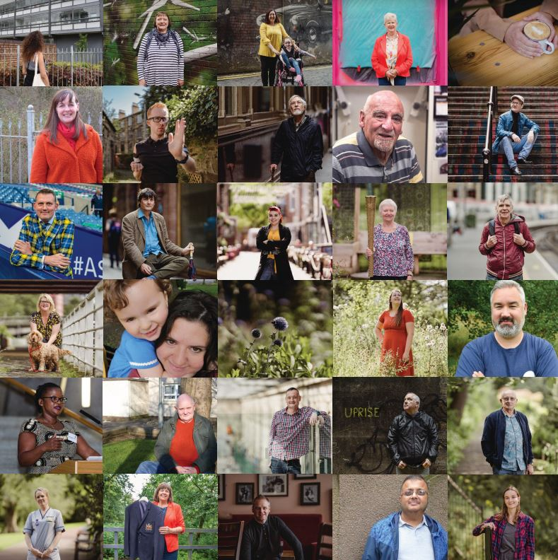 Selection of people's photos featured in the Humans of Scotland book