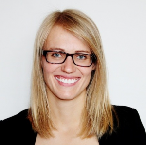 Head shot of blonde girl with glasses