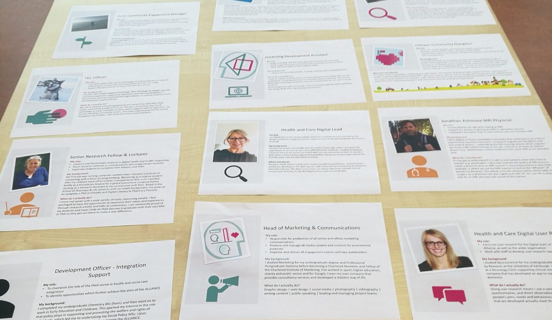Image of various job profiles laid out on a table