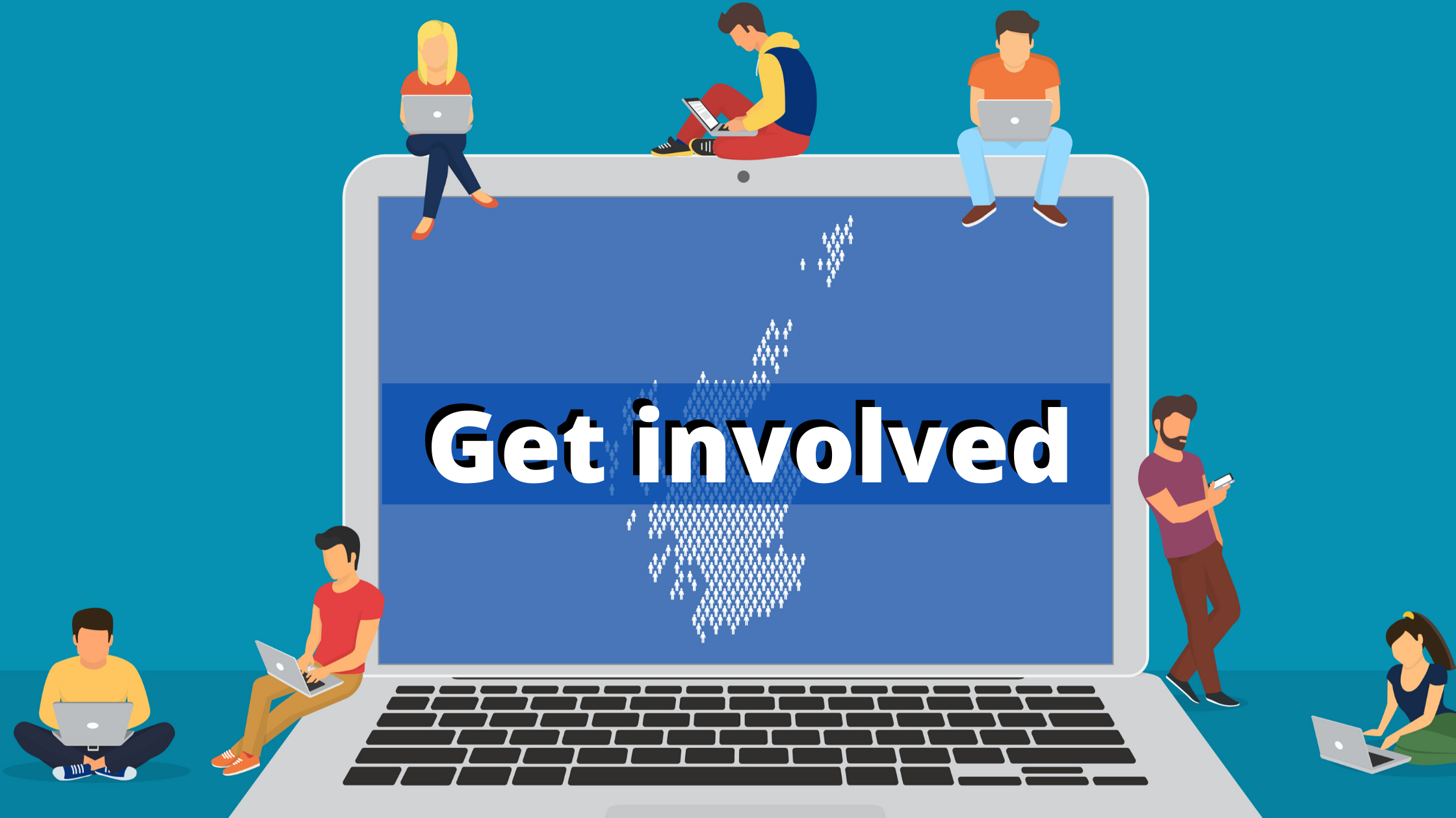 Graphic of illustrated poeple around a laptop, with the words 'Get involved' on screen