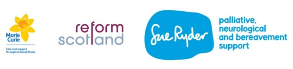 Image of the Marie Curie, Sue Ryder and Reform Scotland logos