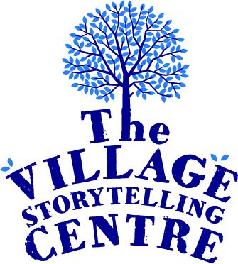 Tree with text below which says 'The Village Storytelling Centre'