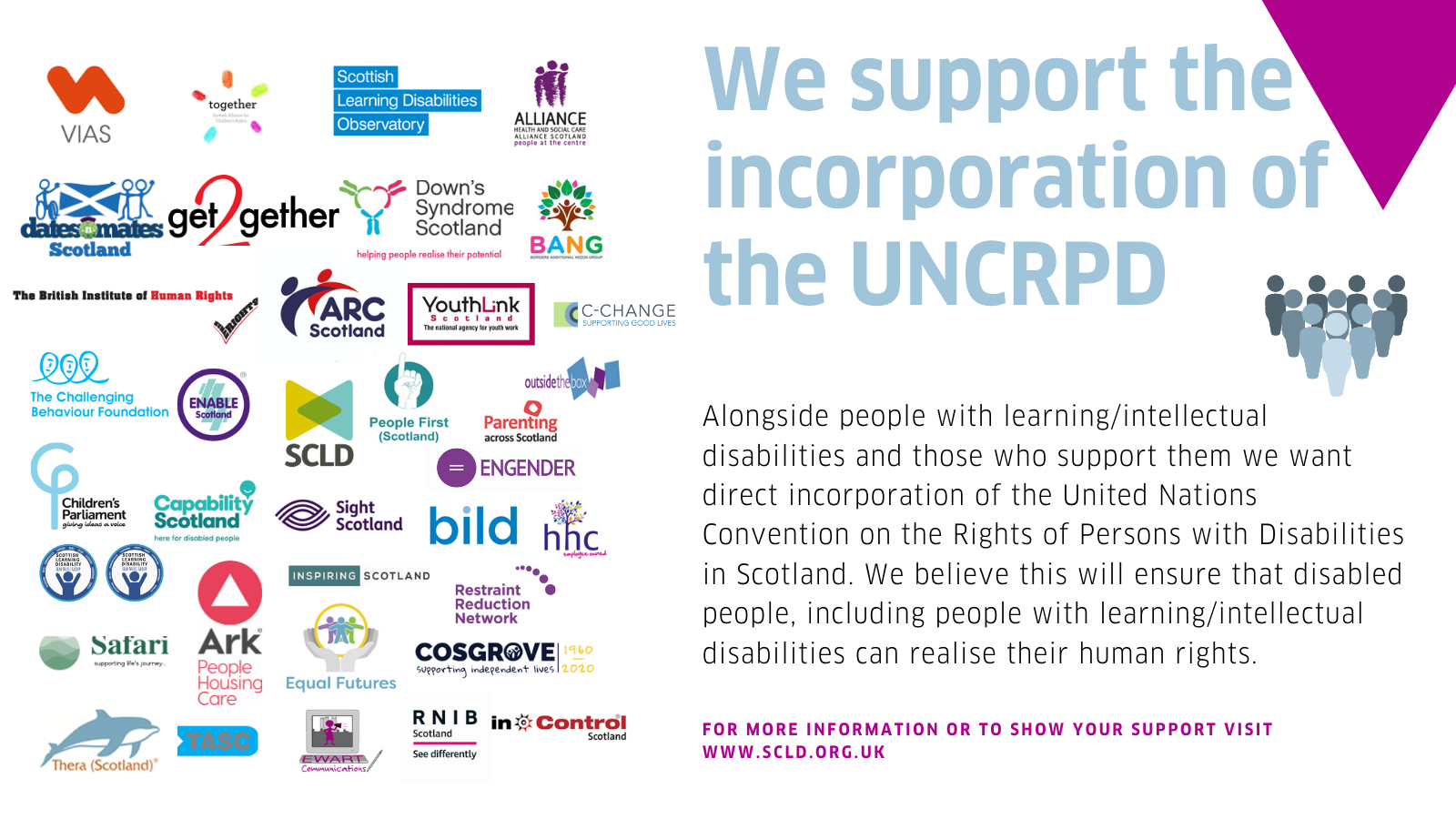 Text: 'We support the incorporation of the UNCRPD' with a list of organisations who have signed the position statement.