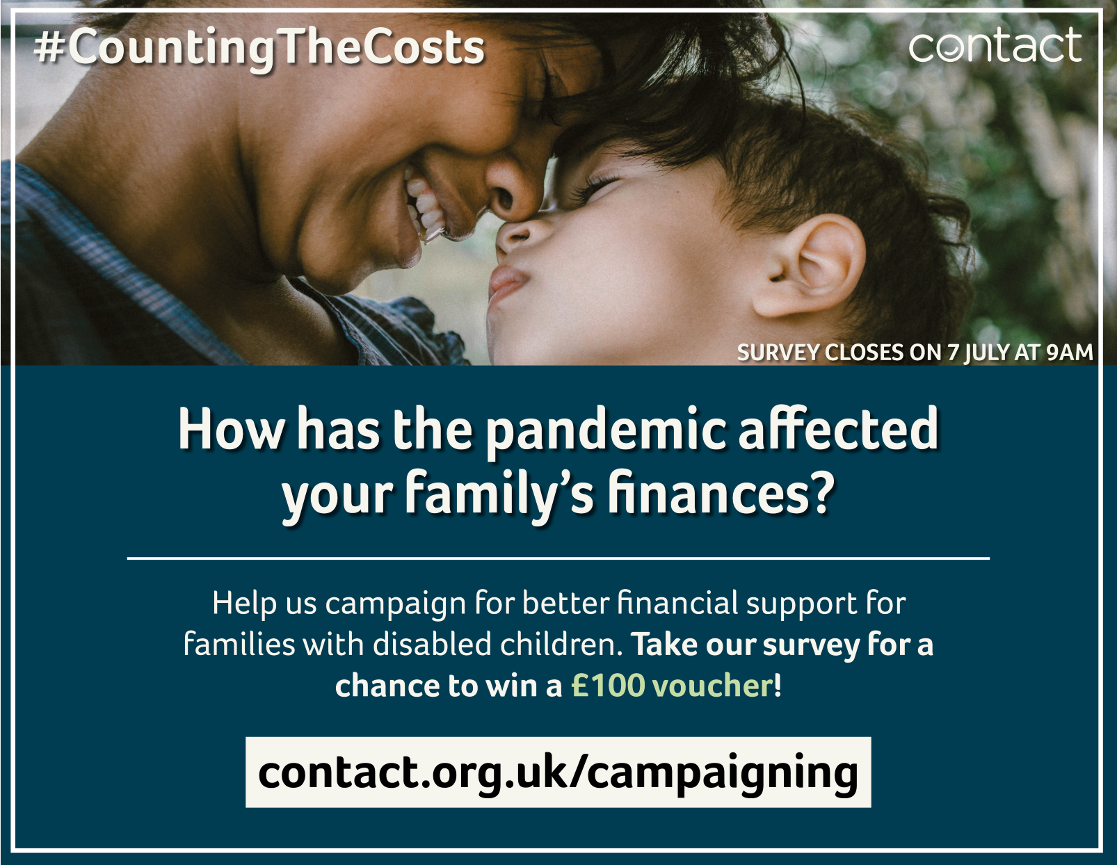 How has the pandemic affected your family's finances? Help us campaign for better financial support for families with disabled children. Take our survey for a chance to win a £100 voucher!